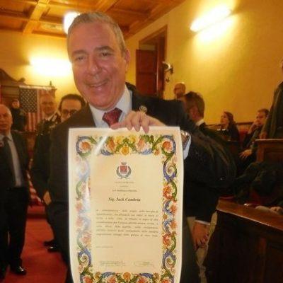 Milazzo: consegnata in Aula consiliare la cittadinanza onoraria a Jack Cambria