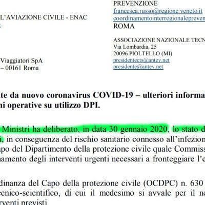 Coronavirus: il 30 gennaio il Governo aveva già previsto SEI MESI di emergenza