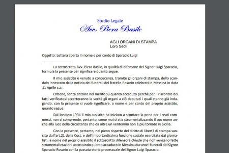 """Caso """"funerale"""", l'avvocato di Luigi Sparacio invia lettera aperta alla stampa: """"nessuna strumentalizzazione con il mio nome"""""""
